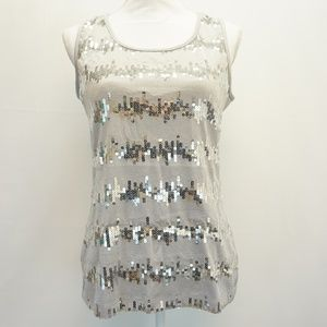 NY Collection Sequin Sleeveless Jersey Tank Top